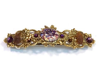 Sparkling Hair Barrette with Amethyst Glass Opal and Beach Glass