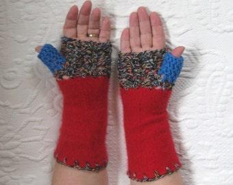 Fingerless Gloves . red cashmere gloves . red fingerless gloves . made from repurposed cashmere sweaters