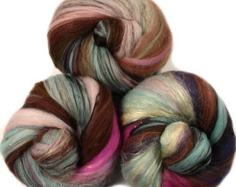 Brownie Batter classic batts -- (4 oz.) organic polwarth wool, bamboo, silk, gold sparkle.