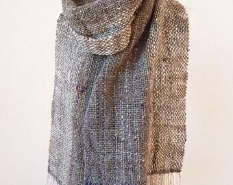 Hand woven scarf made with handspun luxury yarn - READY TO SHIP grey