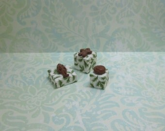 Set of Three Dollhouse Miniature Wrapped Christmas Gifts with Gingerbread Toppers
