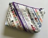 Small Zipper pouch, Selvage Strips, Makeup Bag, Clutch Purse, Quilted Bag, Purse Organizer, Coin Purse, colorful dots, purple zipper
