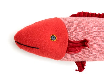 Red-Orange goldfish wool fish pillow doll