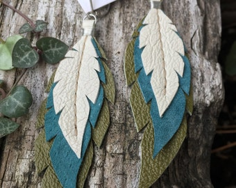 Layered Leather Feather Earrings