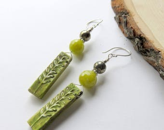 Bright Jade Earrings, Lime Green, Woodland Clay Dangles, Pyrite and Sterling Silver, Nature Inspired