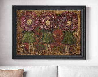 Danita Red rose flower garden Alice wonderland surreal pop painting / whimsical folk art illustration / home decor / weird fine art