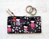 Kokeshi print pencil bag - cute pencil pouch - cherry blossom bag - sakura floral pouch - pencil pouch - planner zipper bag - gray bag