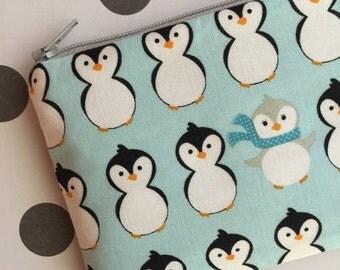 SALE - Cute penguins on blue change purse, under 10 gift,  little penguin gift card holder, stocking stuffers