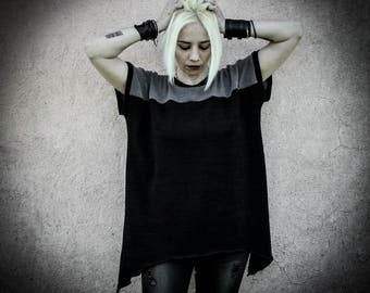 SYNON - Black Oversized Blouse, Avantgarde Loose  Geometric Tunic, Short Sleeves Futuristic Industrial Grunge Top Tunic