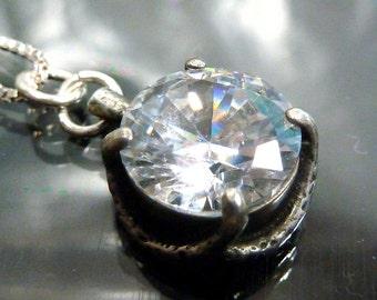 Dragon Claw 3 ct Solitaire CZ Diamond Pendant in Sterling Silver talon necklace