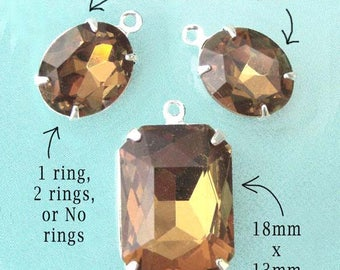 Golden Smoky Topaz Glass Jewel Set, Silver or Brass Settings, Rhinestone, 18mm x 13mm Octagon, 12mm x 10mm Ovals, Pendant Earring Jewels Set