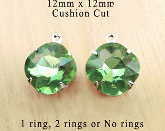 Peridot Green Glass Beads - Cushion Cut Octagon - 12mm x 12mm - Silver or Brass Settings - Glass Gems or Charms - Rhinestones - One Pair