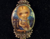 Alice in a Van Gogh Nocturne custom cameo necklace