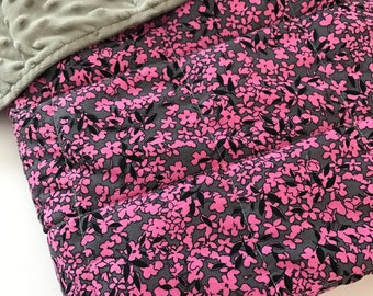 Weighted Blanket - Adult or Child - Gray Black Pink Flowers - Choose size (up to 15 lbs) and minky color - custom