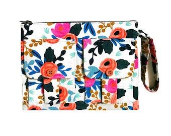 Floral Wristlet, Fabric Wallet Wristlet, Wrist Wallet, Wristlet Purse, Women's Wristlet