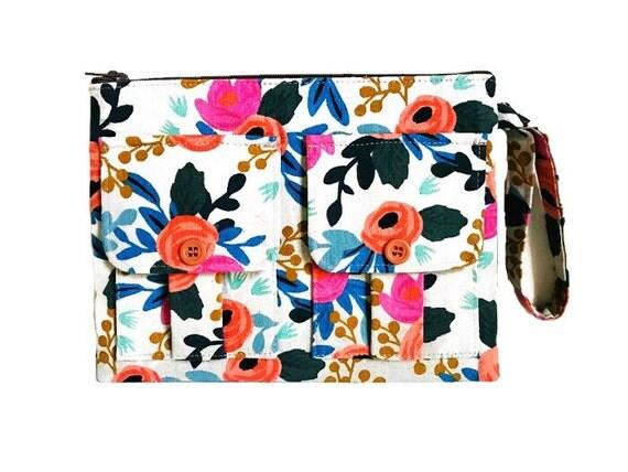 Women's Floral Wallet Wristlet, Cell Phone Wristlet, Zipper Pouch, Wristlet Purse, Wrist Wallet
