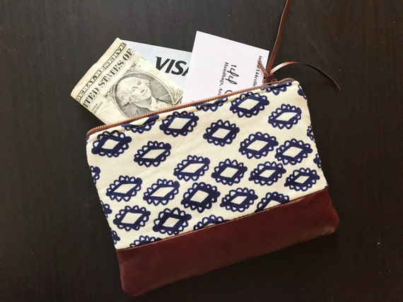 Navy Blue Woodblock Leather Pouch, Small Coin Purse, Change Wallet, Zipper Pouch