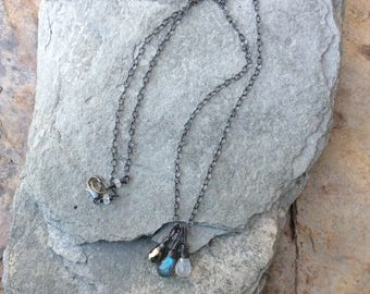 LABRADORITE, MOONSTONE, and PYRITE charm necklace, multi gemstone jewelry, Sterling silver, Angry Hair Jewelry, handmade