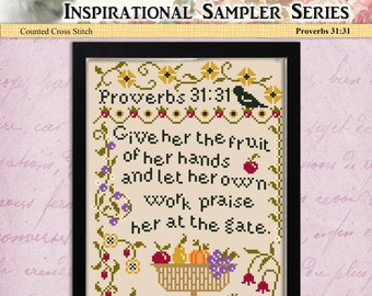 Counted Cross Stitch Pattern Inspirational Sampler Proverbs 31:31