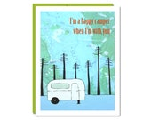 Happy Camper Card // Greeting Card // Friendship Card // Love Card // Rachel Austin Art Card