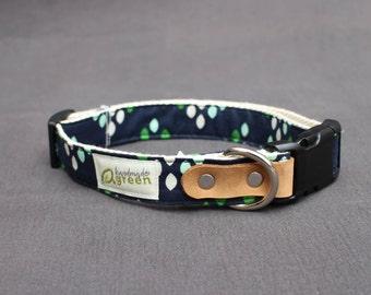 The Charlie. Handmade Green Hemp Dog Collar. Adjustable. Small Medium Large.