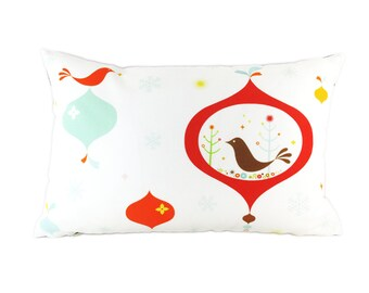 Limited Edition Birdie in the Christmas Ornament Rectangle Pillow- Christmas Decorative Pillow. Down Filler Included.