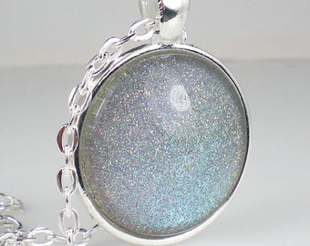 Teal Blue Purple Holo Glitter Nail Polish Necklace Jewelry