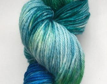 Hand Dyed Worsted Superwash Wool, Shallows