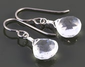 Crystal Quartz Earrings. Titanium Ear Wires. Genuine Gemstone. Lightweight Earrings. April Birthstone. Bridal Earrings. f16e253