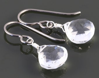 Crystal Quartz Earrings. Titanium Ear Wires. Genuine Gemstone. Lightweight Earrings. April Birthstone. Bridal Earrings. f16e253