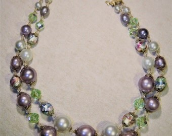 Vintage Vendome Pastel Faux Pearl Crystal and Lampwork Glass Bead Necklace