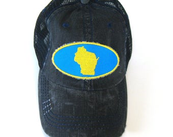 Distressed Trucker Hats - Wisconsin Patch Yellow and Bright Blue on Black hat