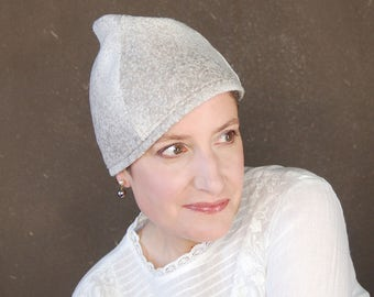 Ladies spring cap in beige and white wool, sewn turban hat, brimless cloche, modern madcap, handmade millinery, easter bonnet : Cognoscenti