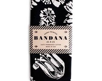 Floral Print Black Bandana, Hand Screen Printed and Soft