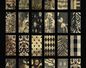 Subtle Browns Domino No. 1 - 1x2 Inch Images - Digital Collage Sheet - Instant Download