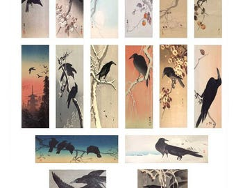 Crows Microscope - 1x3 Inch - Digital Collage Sheet - Instant Download