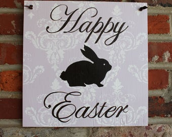 Happy Easter sign hand painted  - painted plywood indoor outdoor use