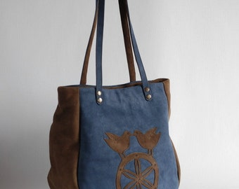 Sale! Brown and blue leather tote, patchwork tote, applique, nubuck leather, upcycled leather bag, blue tote, birds on the wheel