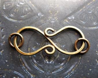 Antiqued Brass S Clasp - Hammered Artisan Jewelry Finding