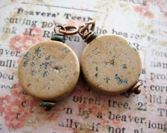 Hazelnut Sapling Jasper Coin Bead Charms - 1 pair - 25mm Antiqued Copper Wrapped Stones