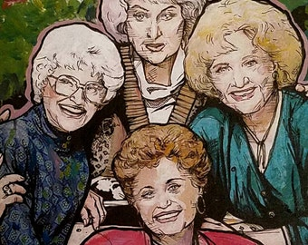 Golden Girls Giclee Print - framed or matted - thank you for being a friend