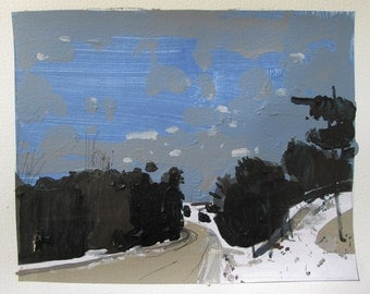 Entrance, Dark Road, Original Winter Landscape Collage Painting on Paper, Stooshinoff