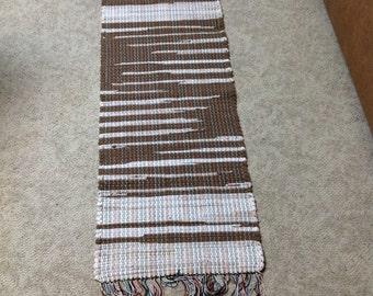 Rag Rug 48 inches long by 18 inches brown and cream sweatshirts and sweatshirt fleece yardage