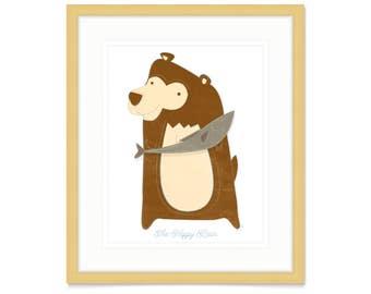 Woodland Nursery Decor- Nursery Animal Print- Woodland Nursery Art- The Happy Bear Print Wall Art- Nursery Room Art