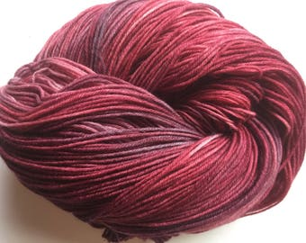 Hand Dyed, Deep Maroon and Red Sock Yarn, Knitting, Crochet, Indie Dyer, Superwash Fingering Weight 462 Yards