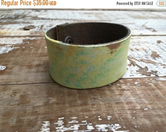 40% OFF- Custom Leather Cuff-Create Your Own-Word Cuff-Hand Painted-Faded Scribblings Design