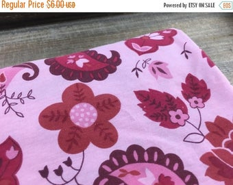 40% OFF- Pink Floral Fabric-  Reclaimed Bed Linens Fabric