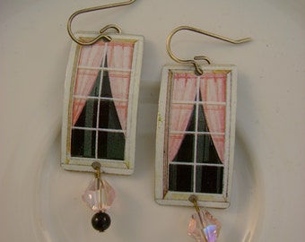 Windows 7 - Vintage Pink and Black Windows Curtains Tin Crystals Recycled Repurposed Jewelry Earrings - Ten Year Anniversary Gift