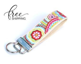 Key Fob Keychain Wristlet | Fabric Keychain with Big Spring Flowers | Free Shipping