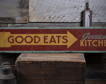 Good Eats Arrow Wood Sign, Personalized Chef Cook Name Gift, Custom Food Kitchen Decor - Rustic Hand Made Vintage Wooden Sign ENS1001703